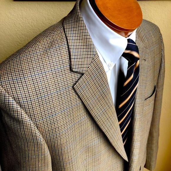 Ralph Lauren Silk & Wool Houndstooth Jacket 46R